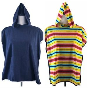 Lot of 2 hooded towel cover ups navy, striped OS